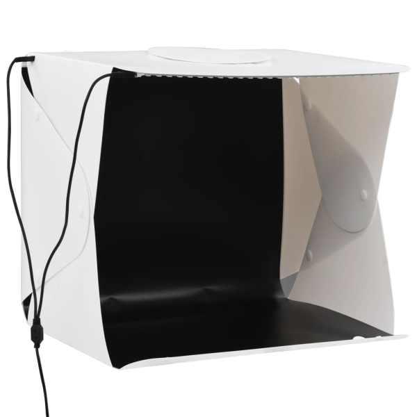 Cort foto cu LED-uri pliabil, alb, 40 x 34 x 37 cm, plastic