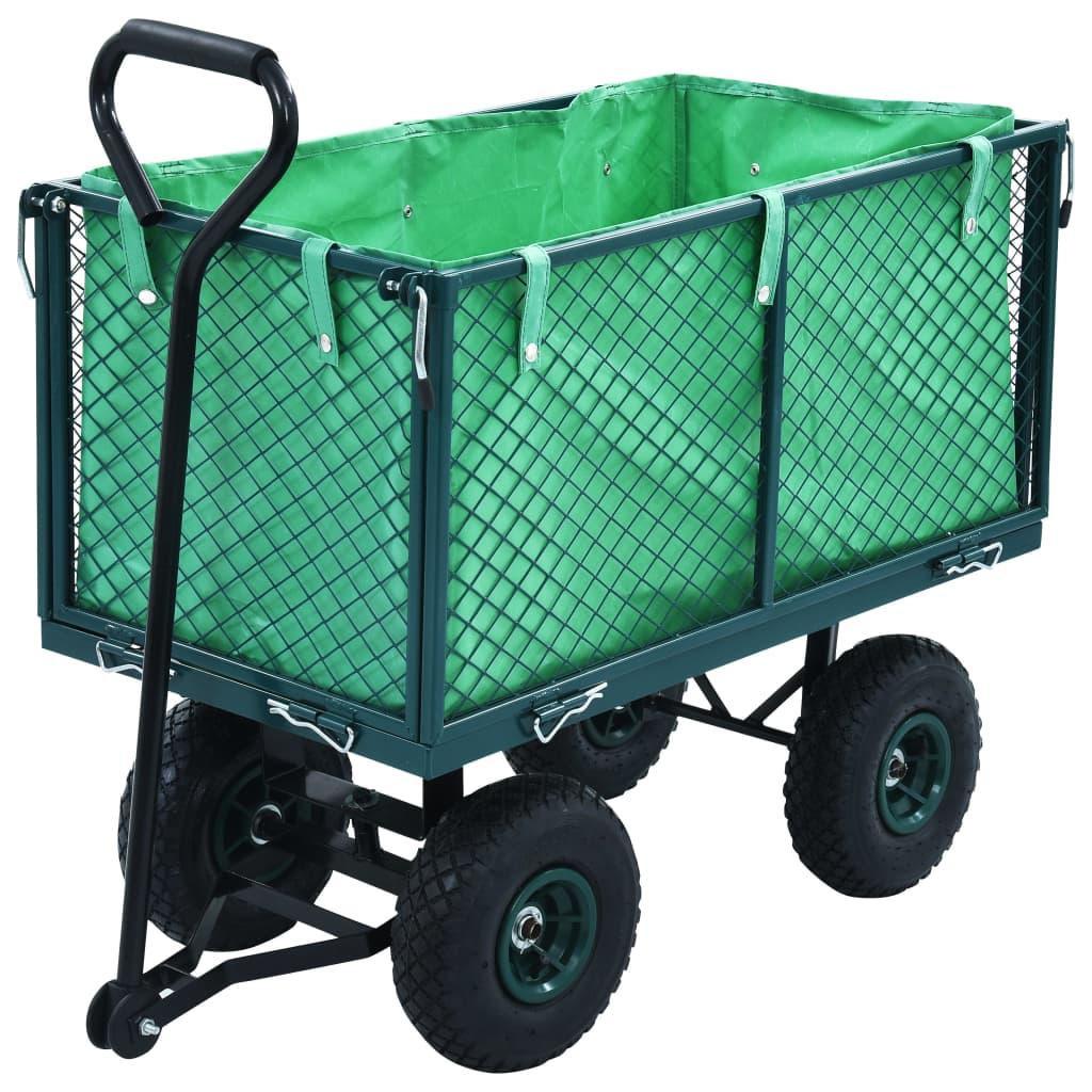 vidaXL Cărucior manual de grădină, verde, 350 kg