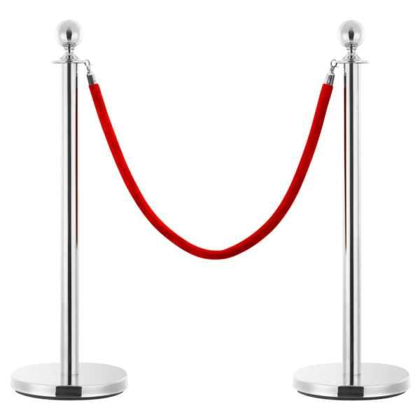 vidaXL Set VIP stil barieră, 3 piese, argintiu, oțel inoxidabil