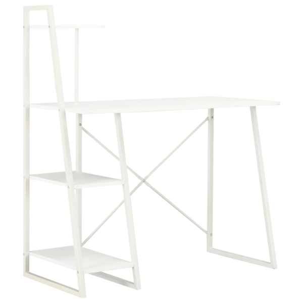 vidaXL Birou cu rafturi, alb, 102 x 50 x 117 cm