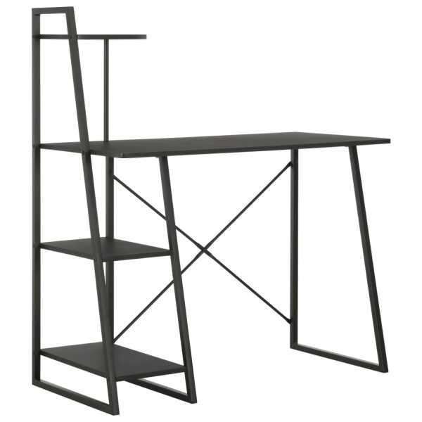 vidaXL Birou cu rafturi, negru, 102 x 50 x 117 cm