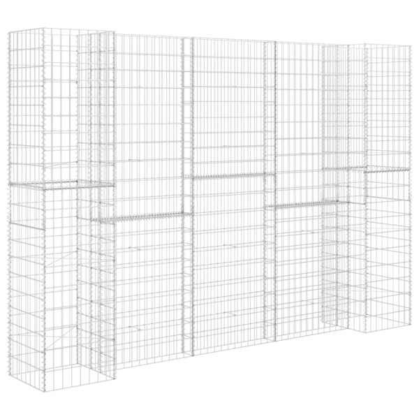 Jardinieră gabion în formă de H, 260 x 40 x 180 cm, sârmă oțel