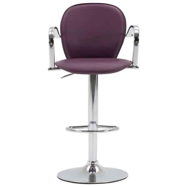 Scaun de bar cu brațe, violet, piele ecologică