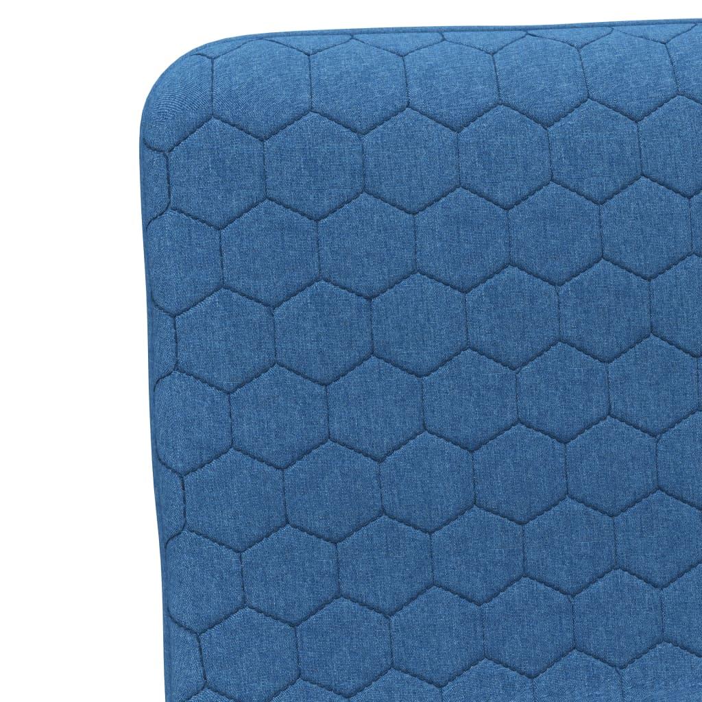 Scaune de bucătărie, 2 buc., albastru, material textil