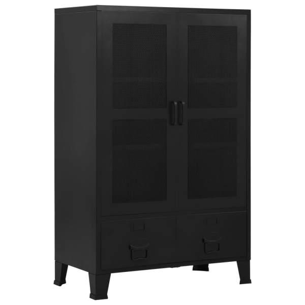 vidaXL Dulap birou cu uși de plasă negru 75x40x120 cm oțel industrial