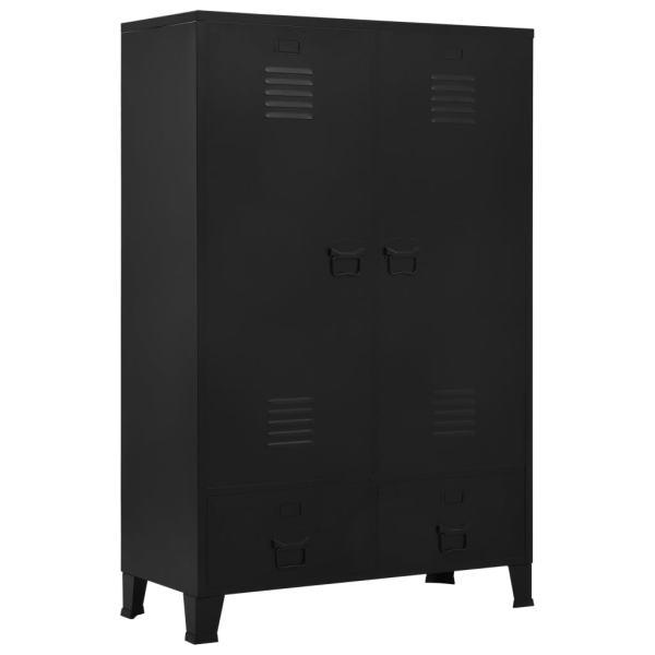 vidaXL Șifonier, negru, 90 x 40 x 140 cm, oțel, industrial