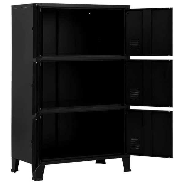 Fișet cu 6 uși, negru, 75 x 40 x 120 cm, oțel, industrial