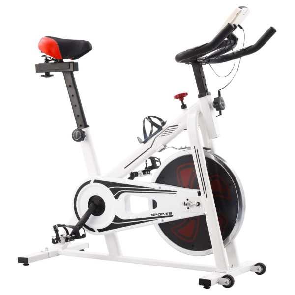 vidaXL Bicicletă fitness, centrifugă, cu senzori puls, alb și roșu