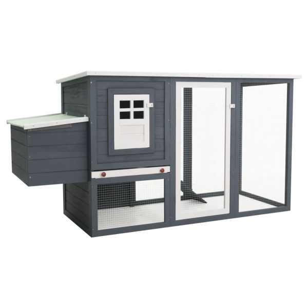 vidaXL Coteț de exterior pentru găini coteț păsări 1 cuibar gri lemn