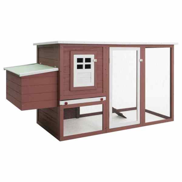 vidaXL Coteț de exterior pentru găini coteț păsări 1 cuibar maro lemn