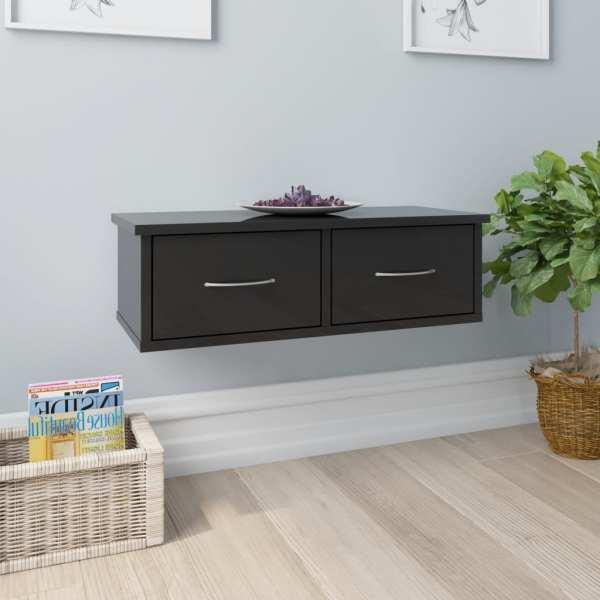vidaXL Dulap de perete cu sertare, negru lucios, 60x26x18,5 cm, PAL