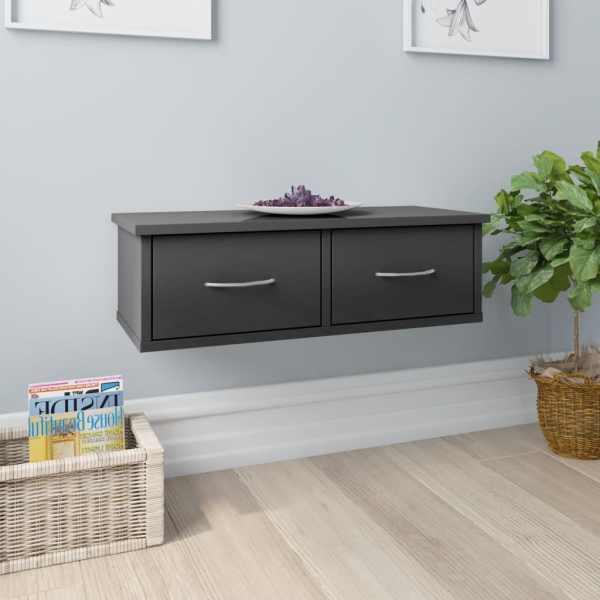 vidaXL Dulap de perete cu sertare, gri lucios, 60x26x18,5 cm, PAL