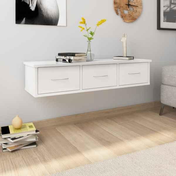 vidaXL Dulap de perete cu sertare, alb extralucios, 88x26x18,5 cm, PAL