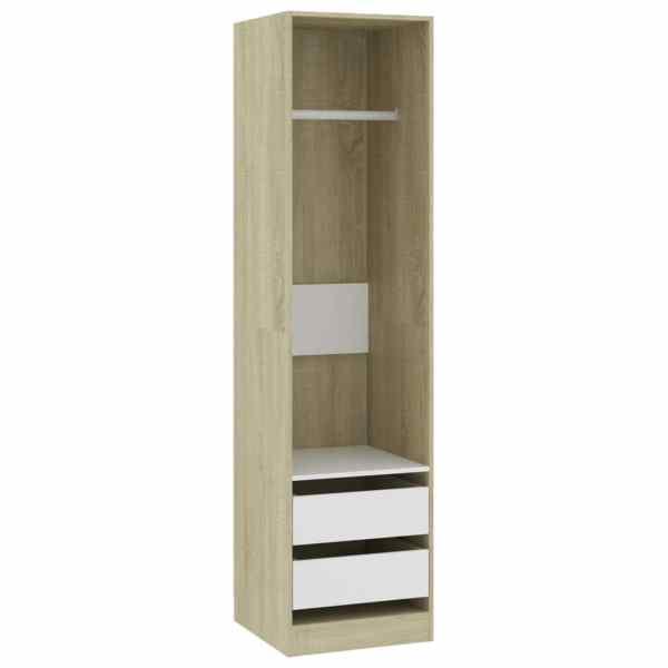 Șifonier cu sertare, alb și stejar Sonoma, 50x50x200 cm, PAL
