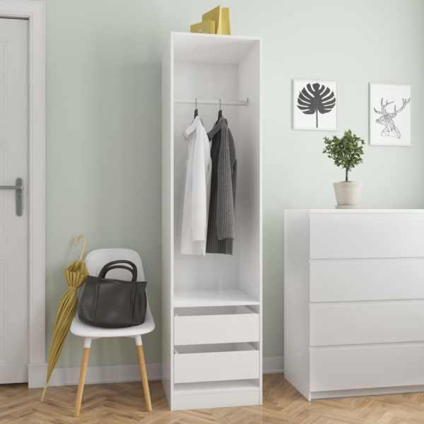 vidaXL Șifonier cu sertare, alb foarte lucios, 50 x 50 x 200 cm, PAL
