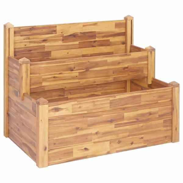 vidaXL Jardinieră de grădină, 2 niveluri, 110x75x84 cm, lemn de acacia