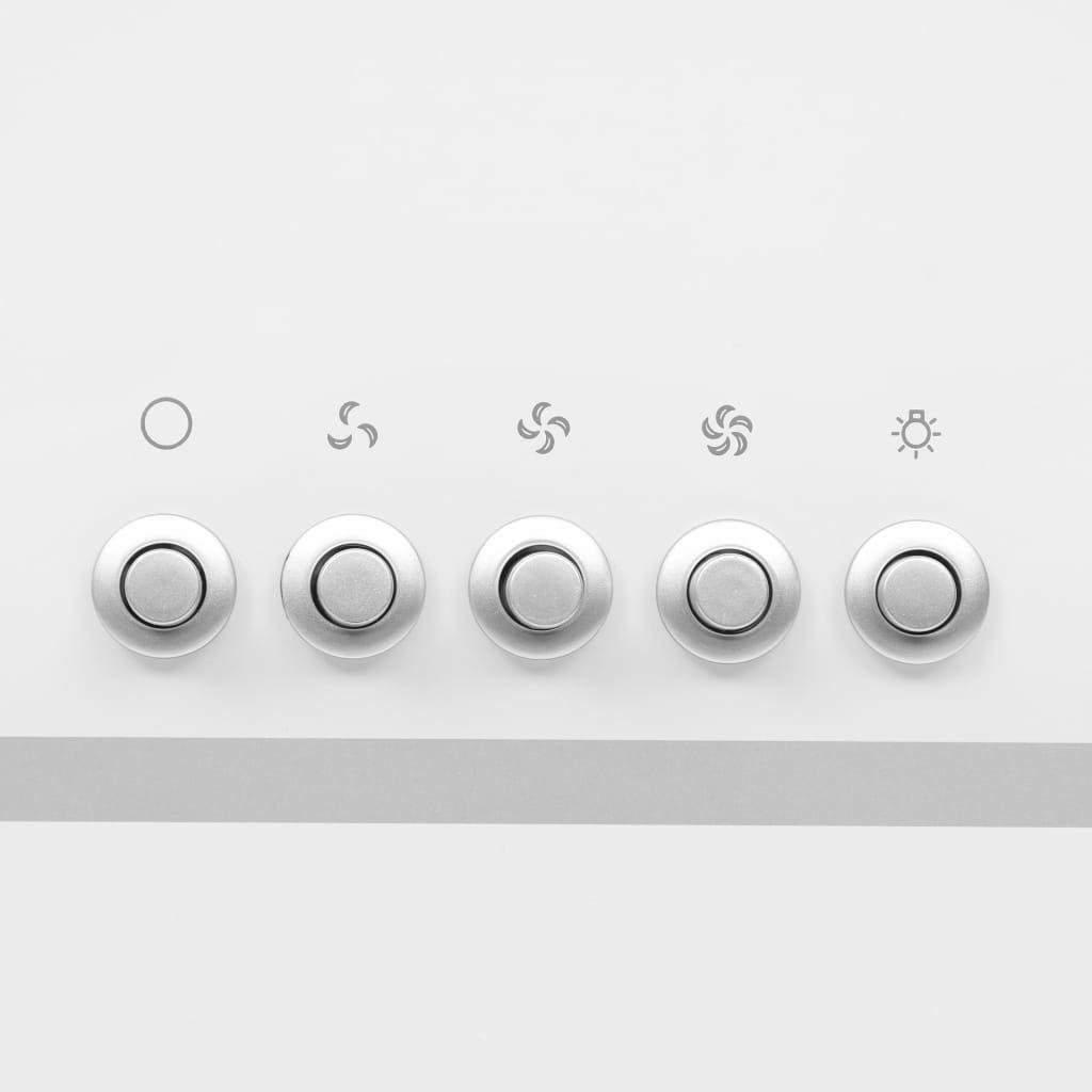 Hotă de perete alb 90 cm oțel inoxidabil și sticlă securizată