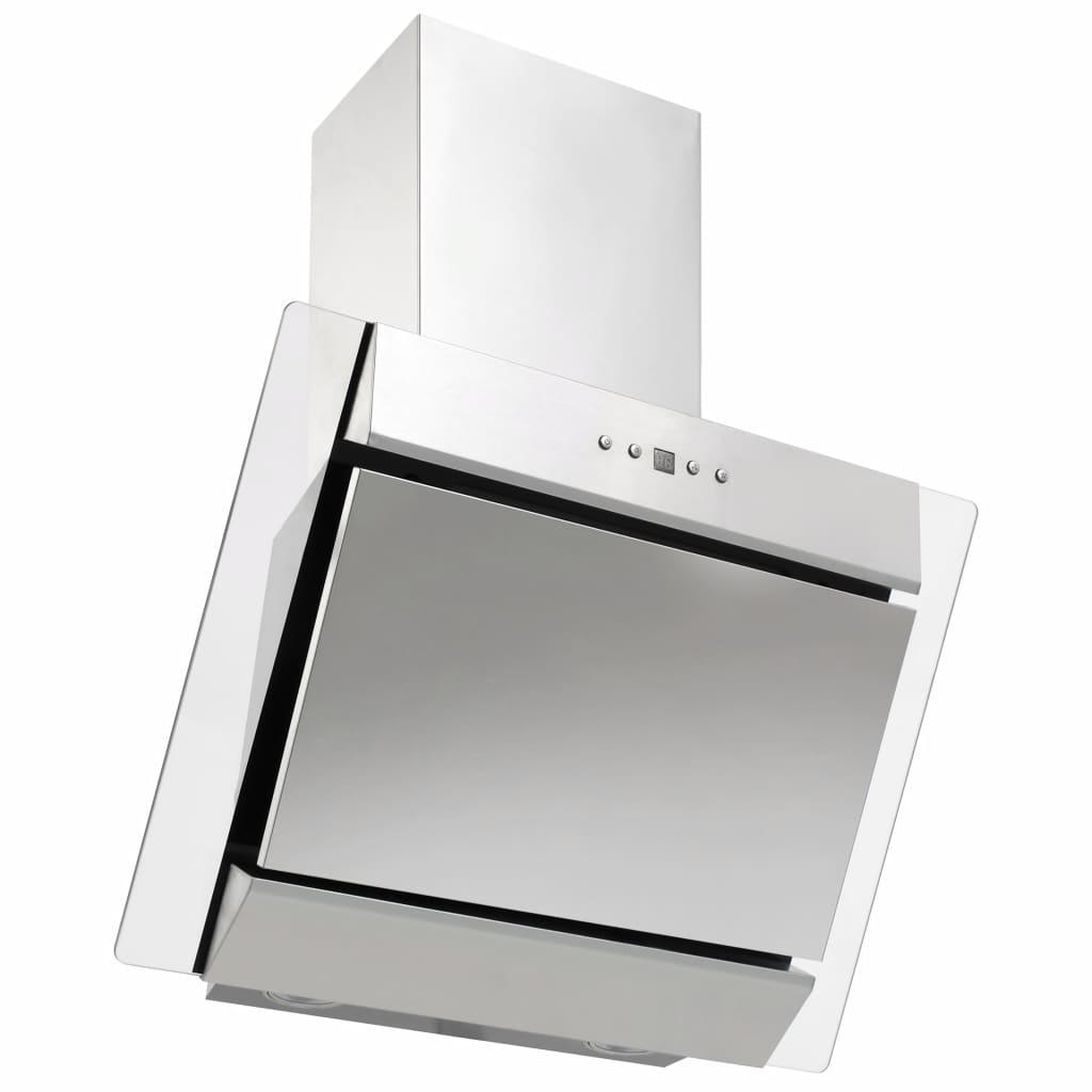 vidaXL Hotă perete argintiu 60 cm oțel inoxidabil & sticlă securizată
