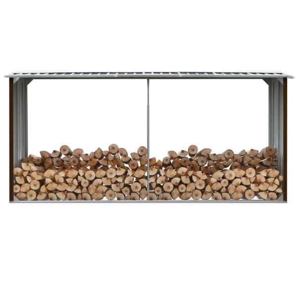 vidaXL Șopron depozitare lemne, maro, 330x92x153 cm, oțel galvanizat