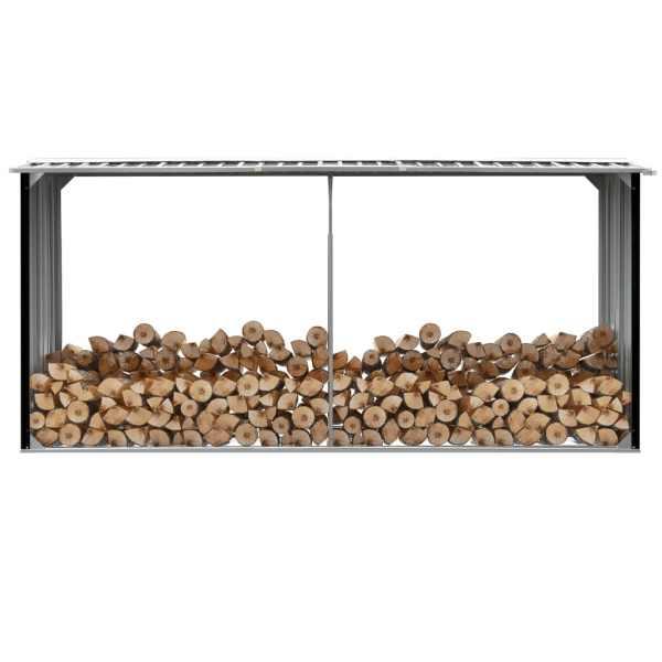 vidaXL Șopron depozitare lemne antracit, 330x92x153 cm oțel galvanizat