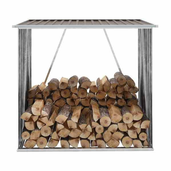 vidaXL Șopron depozitare lemne, maro, 163x83x154 cm, oțel galvanizat