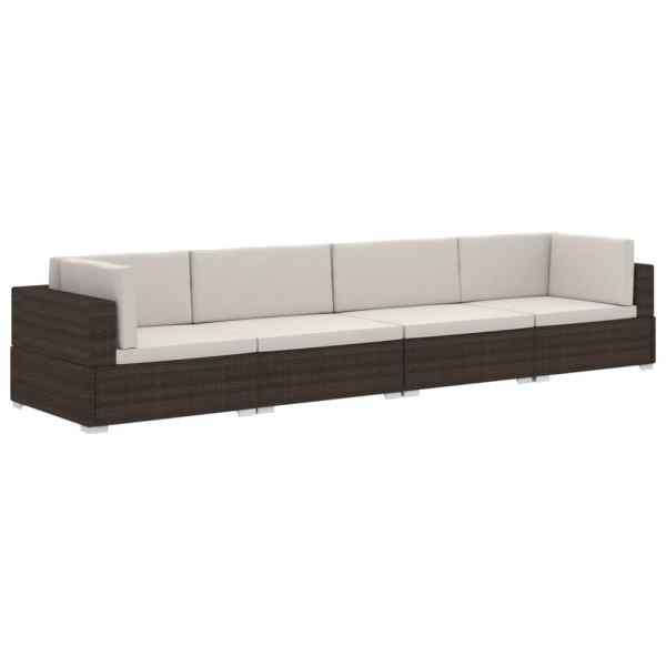 Set canapele de grădină cu perne, 4 piese, maro, poliratan