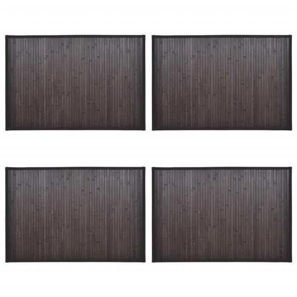 Covorașe de baie din bambus, 4 buc., maro închis, 40 x 50 cm
