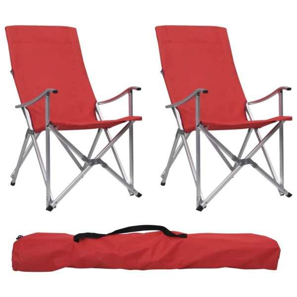 vidaXL Scaune de camping pliabile, 2 buc., roșu