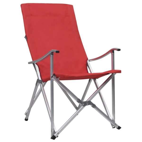 Scaune de camping pliabile, 2 buc., roșu