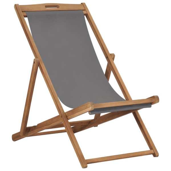 vidaXL Scaun de plajă pliabil, gri, lemn masiv de tec
