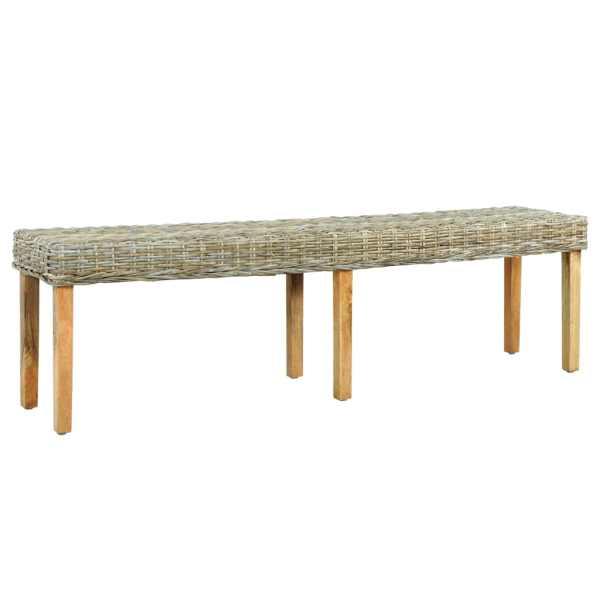 vidaXL Bancă, 160 cm, ratan kubu natural & lemn masiv de mango