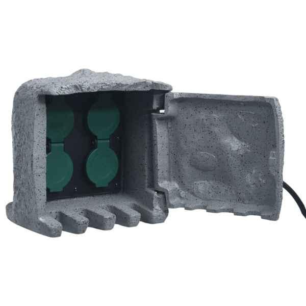 vidaXL Unitate priză de grădină 4 sloturi rezistentă la apă gri polirășină