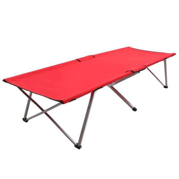 vidaXL Pat de camping, roșu, 206 x 75 x 45 cm, XXL