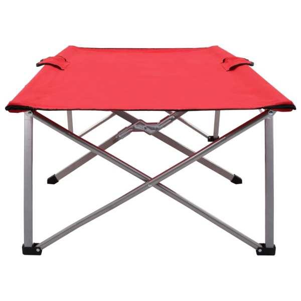 Pat de camping, roșu, 206 x 75 x 45 cm, XXL