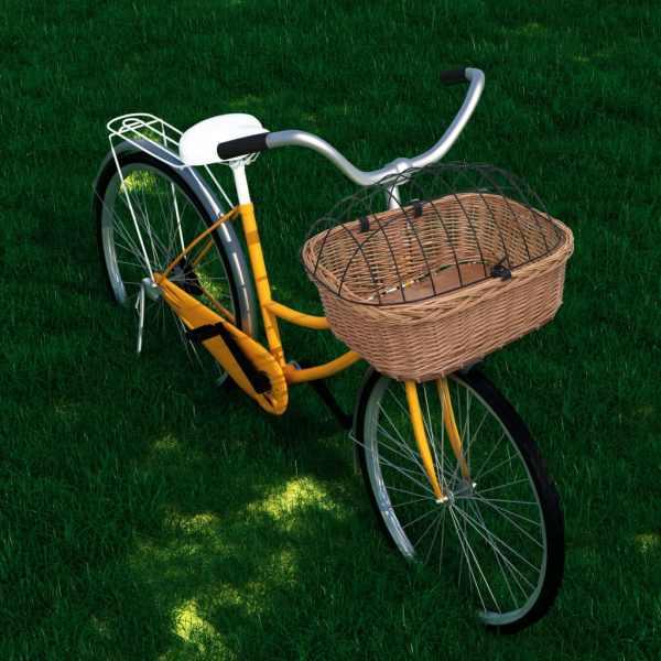 vidaXL Coș frontal bicicletă cu capac, 50x45x35 cm, salcie naturală