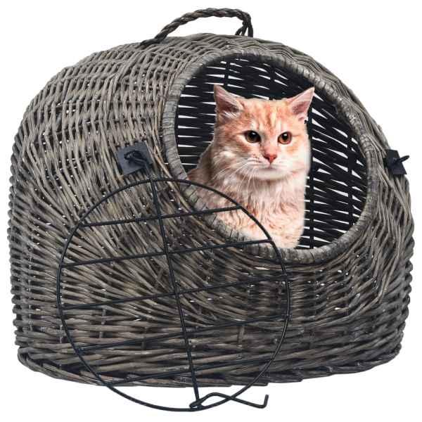 vidaXL Coș de transport pisici, gri, 45 x 35 x 35 cm, răchită naturală