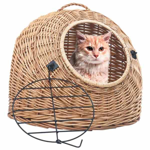 vidaXL Coș de transport pisici, 45 x 35 x 35 cm, răchită naturală