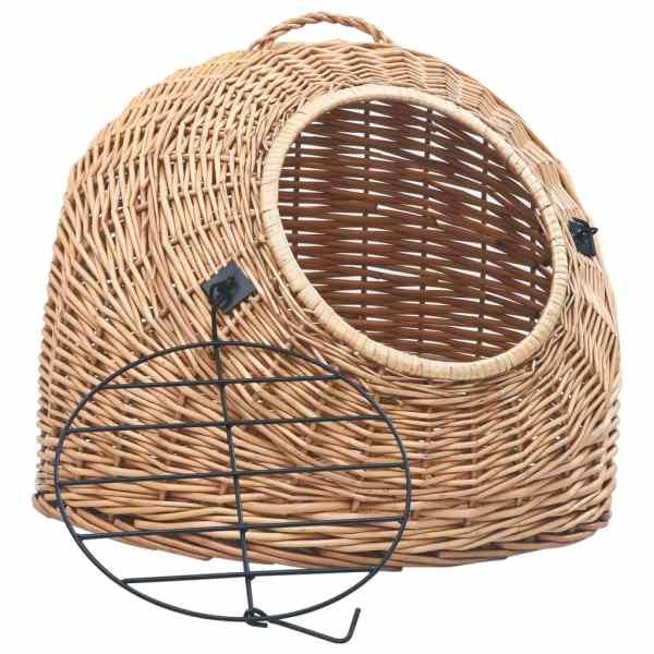Coș transport pentru pisici, 60x45x45 cm, răchită naturală