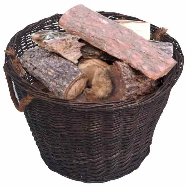 Set coșuri pentru lemne de foc stivuibile, maro închis, răchită