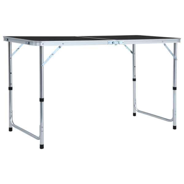 vidaXL Masă de camping pliabilă, gri, 120 x 60 cm, aluminiu