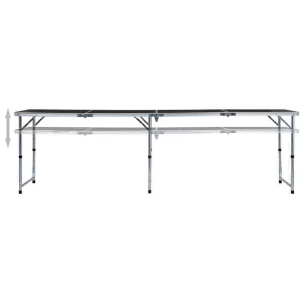 vidaXL Masă de camping pliabilă, gri, 240 x 60 cm, aluminiu