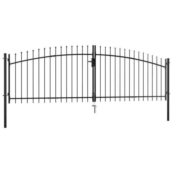 Poartă de gard cu două uși, cu vârfuri de suliță, 400 x 200 cm