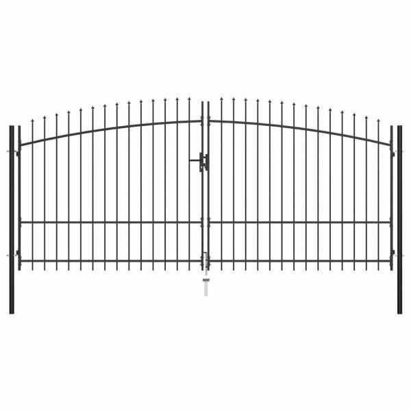 vidaXL Poartă de gard cu două uși, cu vârfuri de suliță, 400 x 225 cm