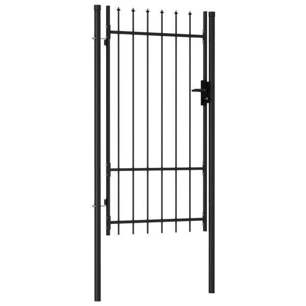Poartă de gard cu o ușă, vârf ascuțit, negru, 1×1,75 m, oțel