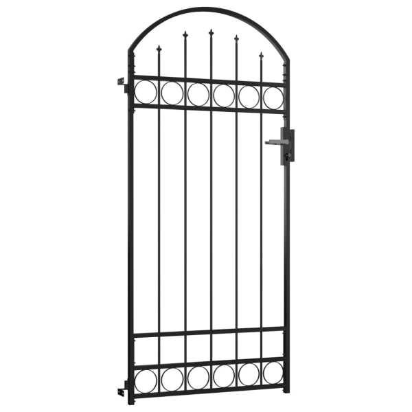 Poartă de gard cu arcadă, negru, 89 x 200 cm, oțel
