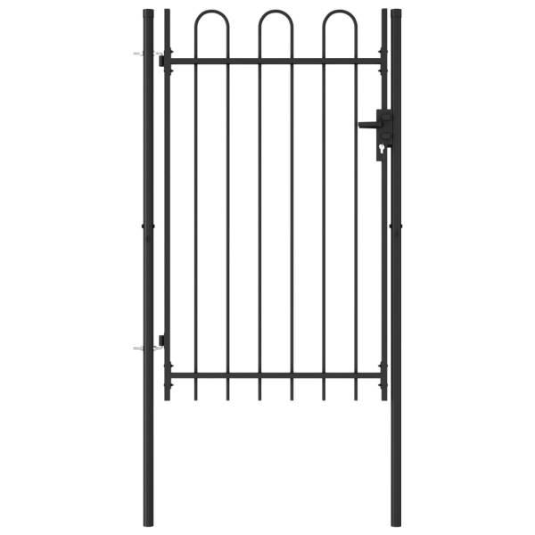 vidaXL Poartă de gard cu o ușă, vârf arcuit, negru, 1 x 1,5 m, oțel