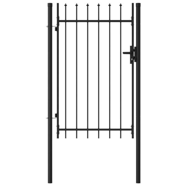 vidaXL Poartă de gard cu o ușă, vârf ascuțit, negru, 1 x 1,5 m, oțel