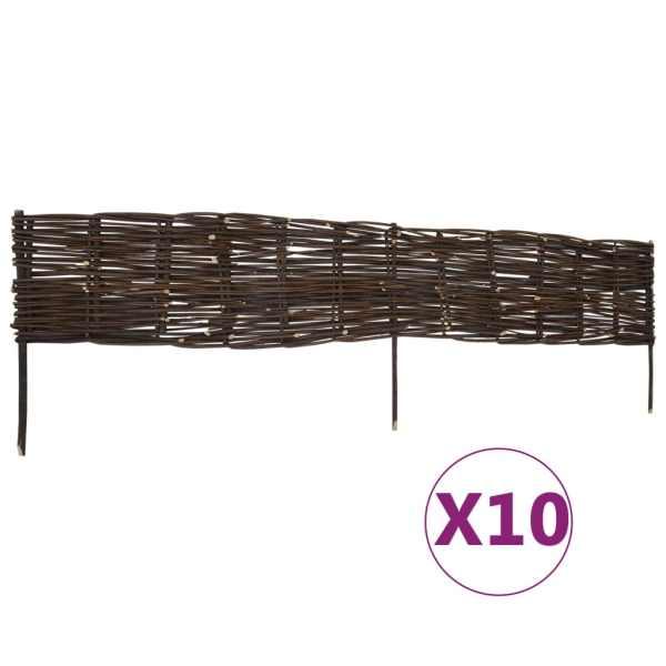 vidaXL Garduri de bordură pentru grădină, 10 buc., 120×35 cm, salcie