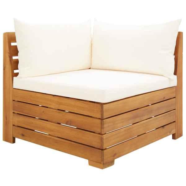 vidaXL Canapea colț modulară cu perne, 1 buc., lemn masiv de acacia
