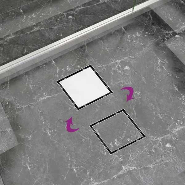 Rigolă de duș capac plat gresie 2-în-1 12×12 cm oțel inoxidabil